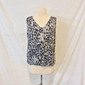 LOFT Petites Gray Leopard Print Sleeveless Blouse